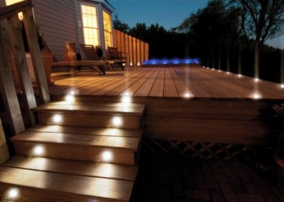 Decking with outdoor lighting installed