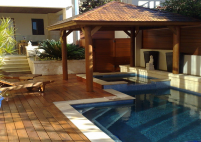 Stone pool coping and timber decking