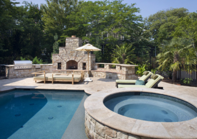 Travertine pool coping tiles with stone cladding
