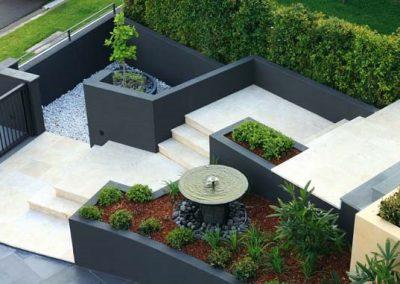 Rendered concrete retaining walls