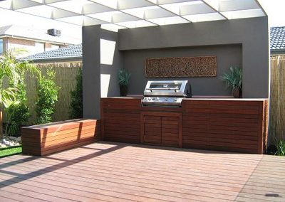 Composite timber decking and outdoor kitchen