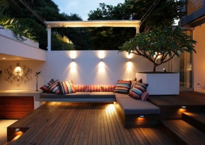 External timber decking in jarrah with outdoor lighting