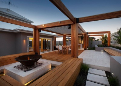Timber decking & minimalist timber pergola