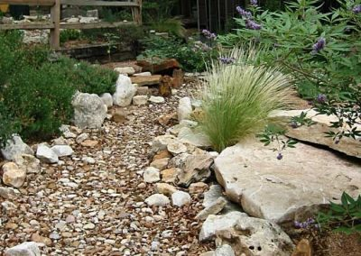 natural stone pebble garden beds