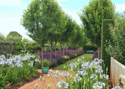 Mixed garden planting using some advanced feature trees