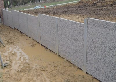 Concrete panel retaining walls