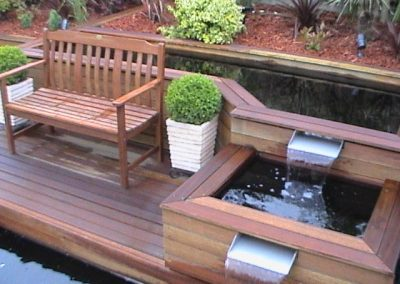 Natural timber decking and planter boxes