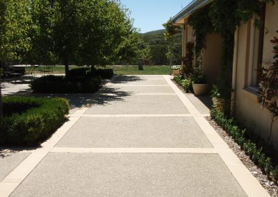 Exposed aggregate with stone borders