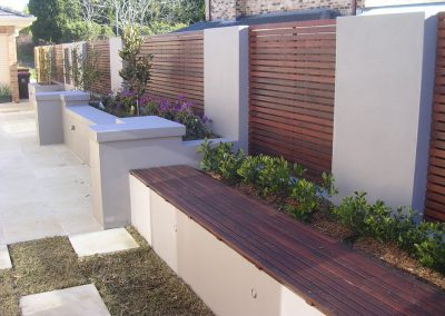 Rendered brick retaining walls